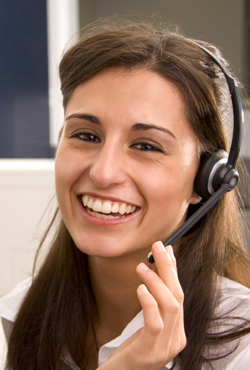 Salesperson improving their voice quality by smiling.