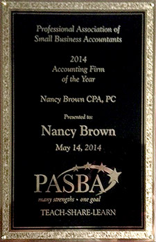 Client: Nancy Brown - PASBA Accounting Firm of the Year Plaque