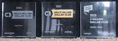 Three years of Multi-Million Dollar Club awards.